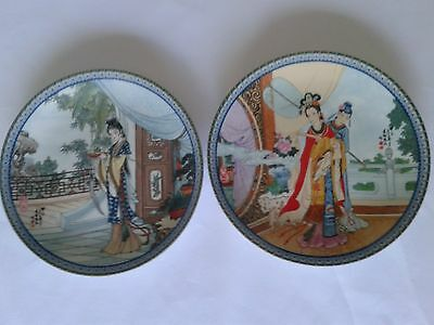 """Zhao Huimin Imperial Jingdezhen Porcelain """"Beauties of the Red Mansion"""" 2 Plates"""