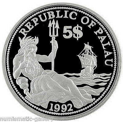 PALAU 5 DOLLARS 1992 Silver PF Year of Marine-Life Protection - Neptune & Ship