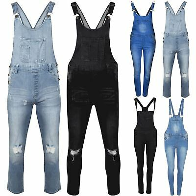 Womens Slim Ripped Dungarees Ladies Light Black Wash Jeans Faded Denim Jumpsuit