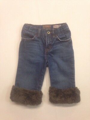 The Childrens Place Girls Size 3T Capri Denim Jeans With Fur At Bottom Of Legs