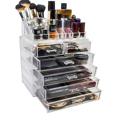 Sorbus Acrylic Cosmetics Makeup and Jewelry Storage Case Display Set Style 2