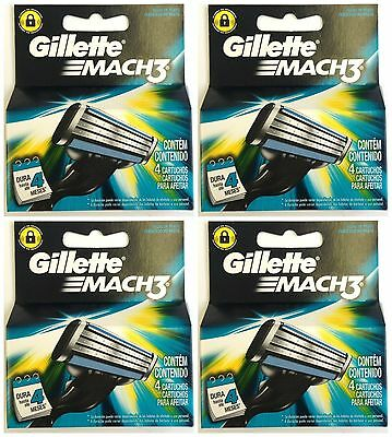 (16) Gillette Mach3 Razor Cartridges - 4 Boxes of 4 - Free Shipping to US