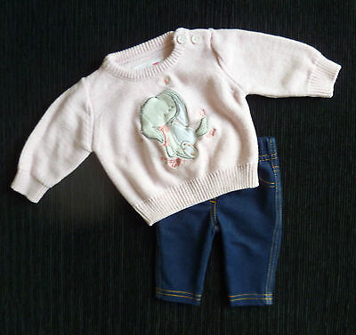 Baby clothes GIRL premature/tiny<7lbs/3.1kg outfit rabbit pink sweater/leggings