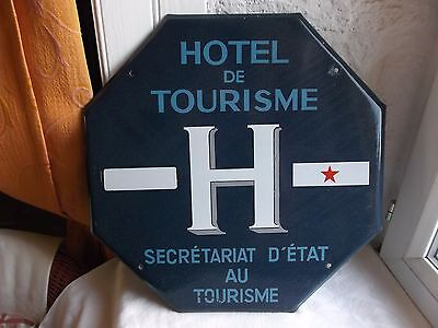 "French authentic octagon sign blue & white porcelain enamel ""Hotel de Tourisme"""