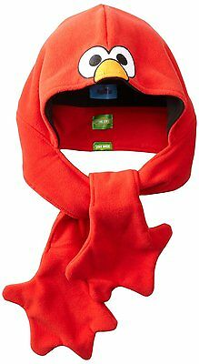 SESAME STREET ELMO LITTLE BOYS WINTER FLEECE HAT HOOD SCARF 3-in-1 RED ONE SIZE