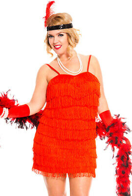 Plus size red womens 20's flapper dress costume