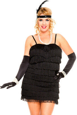 Plus size black womens 20's flapper dress costume