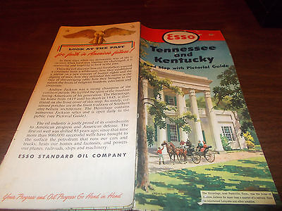 1952 Esso Tennessee/Kentucky Vintage Road Map / The Hermitage on Cover