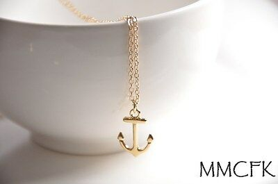 Little Gold Anchor Charm Necklace with 20 inches 14K Gold Plated Chain US Seller