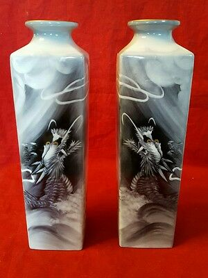 Beautiful Vintage Noritake Porcelain Quality Pair Of Vases Hand Painted Dragon