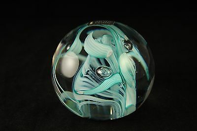Vtg Whitefriars Full Lead Crystal Art Glass Blue Ribbon Swirl Paperweight #9850A