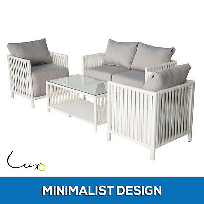 PE Wicker Outdoor Sofa Setting 4-Seater Garden Lounge Couch Set Indoor Furniture