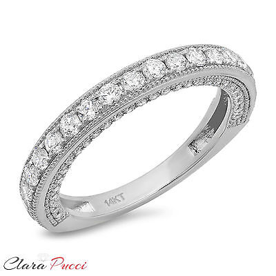 1.10ct Simulated PAVE set Wedding Eternity Engagement Band Ring 14k White Gold