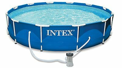 Intex 12FT Metal Frame Pool Set for Summer Backyards Family Fun Easy to Set Up