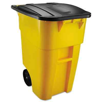 50 Gal. Rollout Commercial Yellow Trash Container Can Brute Durable Plastic Lid