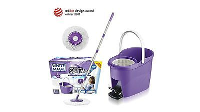 White Magic Microfibre Spin Mop with Foot Press System and 360-Degree Head