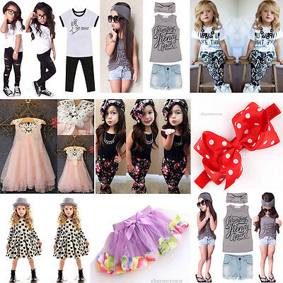 Children Kids Girl Headband T-shirt Pants Princess Dress Baby Outfits Set 2-7Y