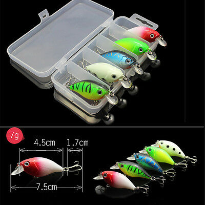 5pz Esche Artificiali Per Pesca Minnow Fishing Lures Bass Crankbait + Scatola