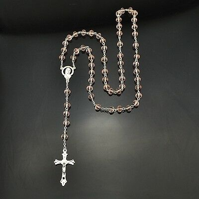 Catholic Virgin Mary Pink Crystal Beads Womens Silver Rosary Necklace