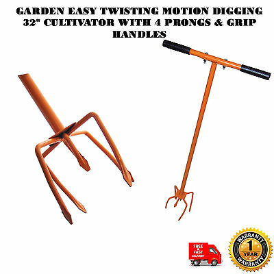 """Garden Easy Twisting Motion Digging 32"""" Cultivator With 4 Prongs & Grip Handles"""