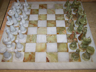 """Chess Set Marble/Onyx 16"""" Snow White & Green Handmade  Fine Carved with Red Box"""