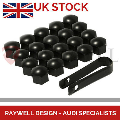 20 x 17mm ALLOY WHEEL NUT CAPS/BOLTS BLACK for AUDI A3 A4 A5 A6 S3 S4 S5 Q5 Q7