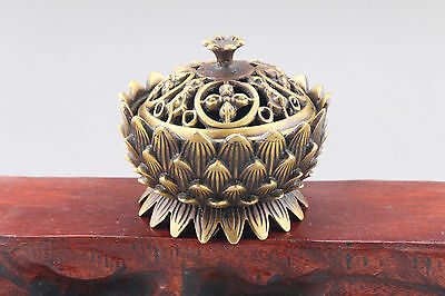 Exquisite Chinese hand carved brass ware Lotus incense burner