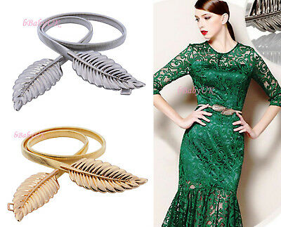 Womens Ladies Fashion Gold Leaves Metal Elastic Thin Skinny Belt Slim Waist Band