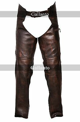 Vintage Brown Classic Motorcycle Horse Ride Unisex Leather Chaps Mens Womens