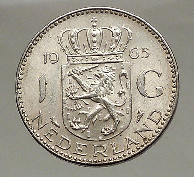 1965 Netherlands Kingdom Queen JULIANA 1 Gulden Authentic Silver Coin i57063