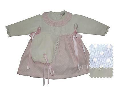 Gorgeous Baby Girl's Pink Spanish Dress &Bonnet/Romany/Knitted Top/0M to 18M