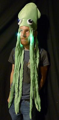 LED Light up Long Squid Hat - Party adult dreads bright fun novelty Tentacles