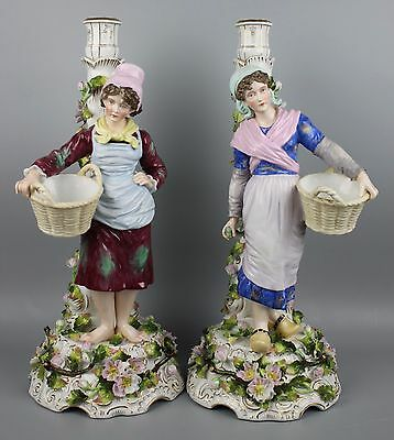 Antique 19C Sitzendorf pair of figural floral candleholders WorldWide