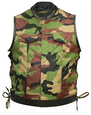 Military Camouflage & Cowhide Leather Cut off Mens Vest Waiscoat Gilet Biker