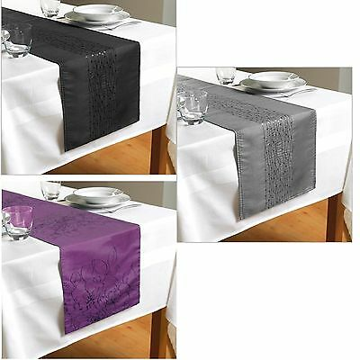 Table Runner Embroidered Sequin Taffeta Black & Silver Party Decor Dining Table