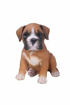 Sitting BOXER Puppy Dog - Life Like Figurine Statue Home / Garden NEW
