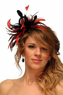 Black & Red  Fascinator hat/choose any colour satin/ feathers