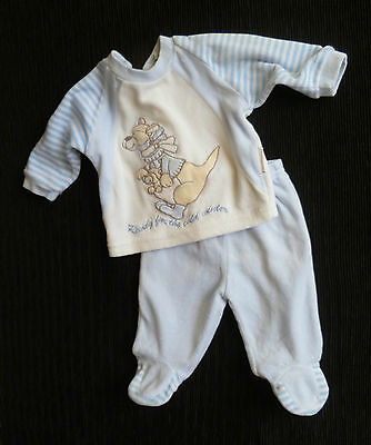 Baby clothes BOY newborn 0-1m outfit blue velour kangaroo trousers LS top C SHOP