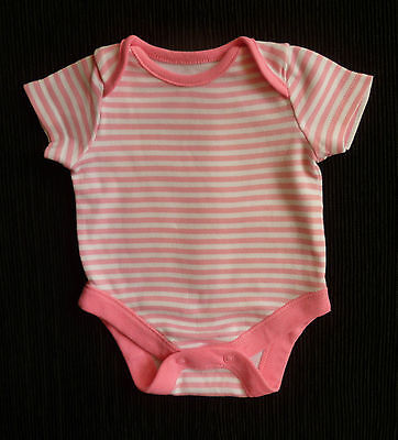 Baby clothes GIRL newborn 0-1m mid-pink/white striped bodysuit/top/outfit C SHOP