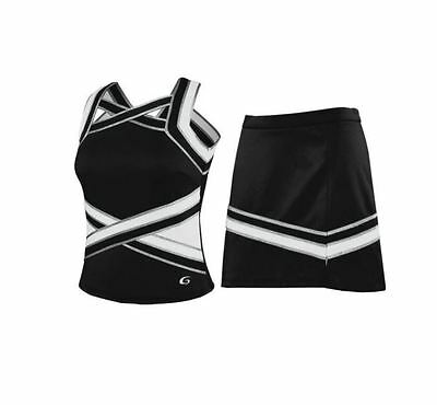 Black Silver and White Cheerleading Uniform Various Sizes