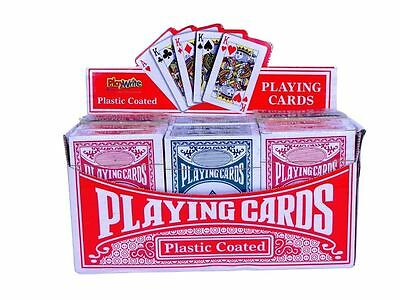 2 x PLAYWRITE PLASTIC COATED PLAYING CARDS 1 BLUE 1 RED FUN