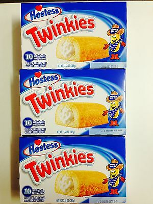 3 x 385g BOXES OF HOSTESS TWINKIES - GOLDEN SPONGE CAKE WITH CREAMY FILLING
