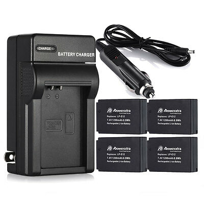 LP-E12 LPE12 Battery + Charger For Canon EOS M M2 100D Rebel SL1 Kiss X7 Cameras