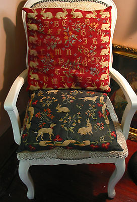"2 Vintage Fine Tapestry Pillows 18""SQ Medieveal Theme Bunny Floral ABC Rare"