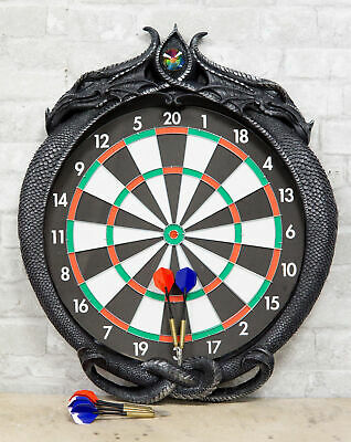 "Crystal Jade Dual Dragon Dart Board Wall Sculpture 20.5""H Fantasy Game Decor"