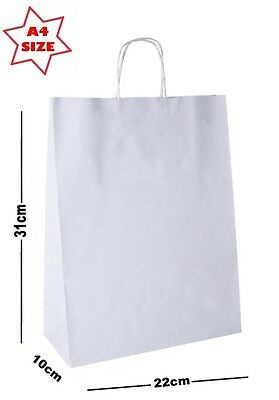 10 x White Paper Party Gift Bags ~ Boutique Shop Loot Carrier Bag - SIZE A4
