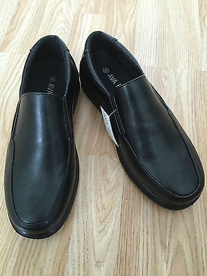 MENS BLACK SHOES SLIP ON ORTHOPAEDIC COMFORT WIDE CASUAL WORK LIGHT SIZE 6 to 11