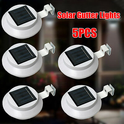 5Pcs Solar Powered LED Wall Light Outdoor Garden Gutter Path Yard Lamp Pathway