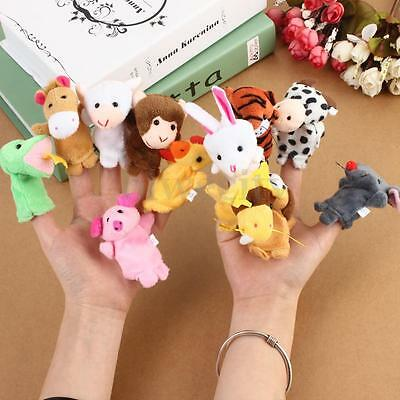 12Pcs Plush Animal Finger Puppet Cartoon Doll Kids Baby Educational Toy Gift New