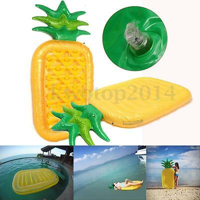 Giant Inflatable Pineapple Lounge Float Tube Bed Raft Swimming Pool Toy 180x90cm